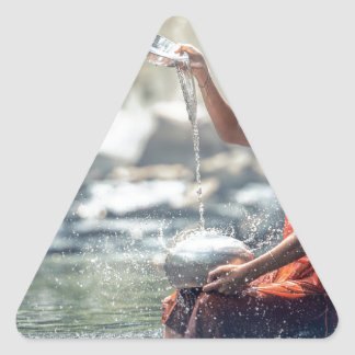 Buddhist Monk Washing Implements Triangle Sticker