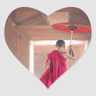 Buddhist Monk with Red Umbrella Heart Sticker