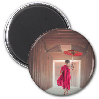 Buddhist Monk with Red Umbrella Magnet