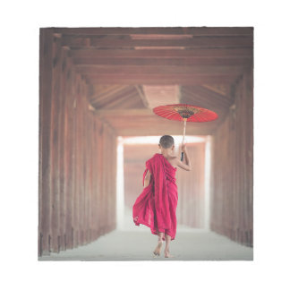 Buddhist Monk with Red Umbrella Notepad