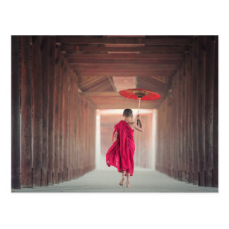 Buddhist Monk with Red Umbrella Postcard