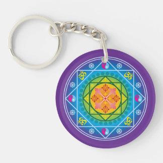 Buddhist Om, Dharma Wheel & Yin Yang Mandala Keychain