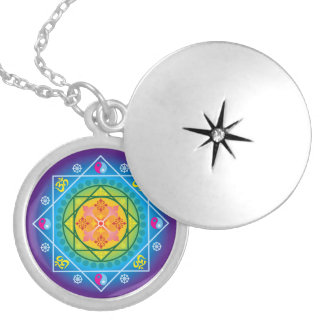 Buddhist Om, Dharma Wheel & Yin Yang Mandala Round Locket Necklace