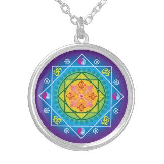 Buddhist Om, Dharma Wheel & Yin Yang Mandala Round Pendant Necklace