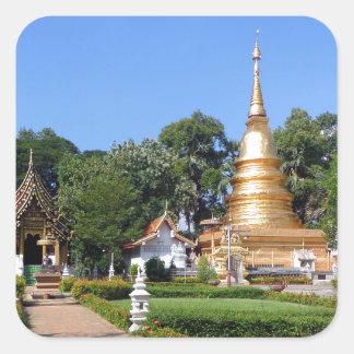 Buddhist pagoda and temple gardens square sticker
