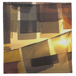 Buddhist prayer flags in the sunset, cloth napkin