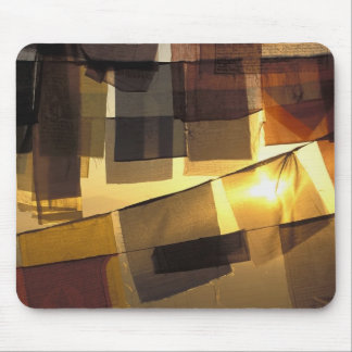 Buddhist prayer flags in the sunset, mousepads