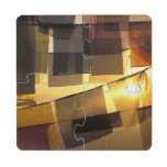 Buddhist prayer flags in the sunset, puzzle coaster