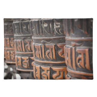 Buddhist prayer wheels cotton placemat