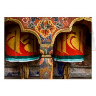 Buddhist praying role, bhutan card