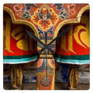 Buddhist praying role, bhutan square wall clock
