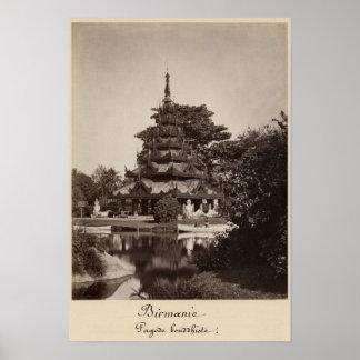 Buddhist rest house, Moulmein, Burma, c.1875 Poster