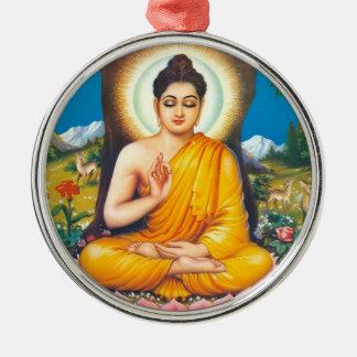 Buddhist Round Metal Christmas Ornament
