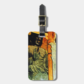 Buddhist Statue in Temple Abstract Impressionism Tag For Luggage