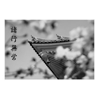 Buddhist Temple All Things Must Pass B & W Roof Posters
