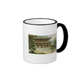 Buddhist temple at Kyoto, Japan Ringer Mug