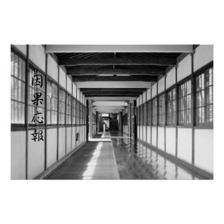 Buddhist Temple Passageway Reap What You Sow B&W Poster