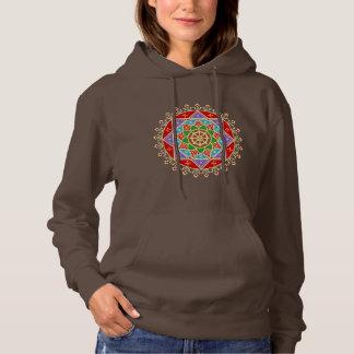 Buddhist Wheel of Dharma Mandala Pattern Hoodie