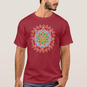 Buddhist Wheel of Dharma Mandala Pattern T-Shirt