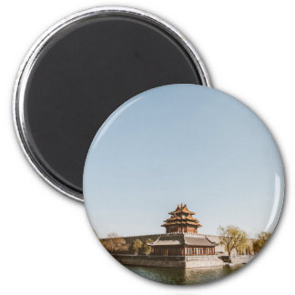 Buddhit monarchy at bank of a lake 2 inch round magnet