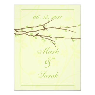 Budding Branches with Birds Ivory & Green RSVP 4.25x5.5 Paper Invitation Card