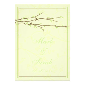 Budding Branches with Birds Ivory Invitation