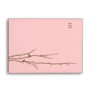 Budding Branches with Birds Pink & Green Envelope