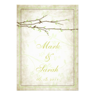Budding Branches with Birds Vintage III Invitation