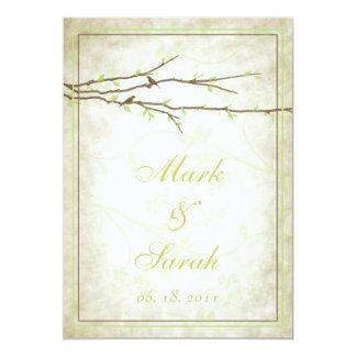 "Budding Branches with Birds Vintage III Invitation 5"" X 7"" Invitation Card"