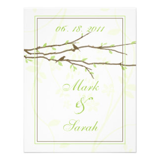 Budding Branches with Birds White 7 Green RSVP Personalized Invitation