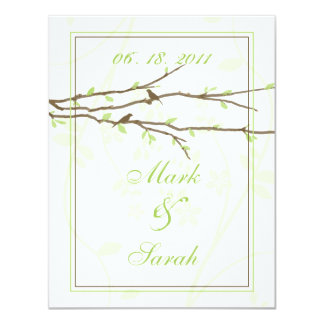 """Budding Branches with Birds White 7 Green RSVP 4.25"""" X 5.5"""" Invitation Card"""
