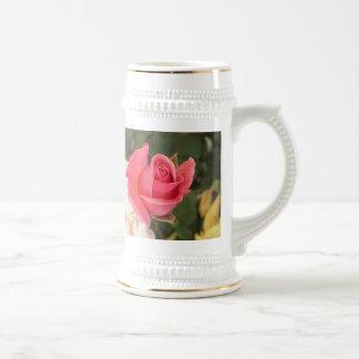 Budding Pink Rose Beer Stein