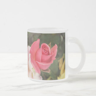 Budding Pink Rose Frosted Glass Coffee Mug