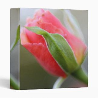 Budding Pink Rose in Early Morning Light Binder
