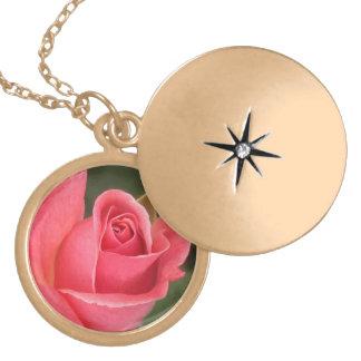 Budding Pink Rose Locket Necklace