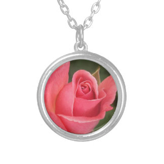 Budding Pink Rose Round Pendant Necklace