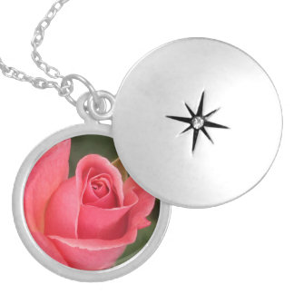 Budding Pink Rose Silver Plated Necklace