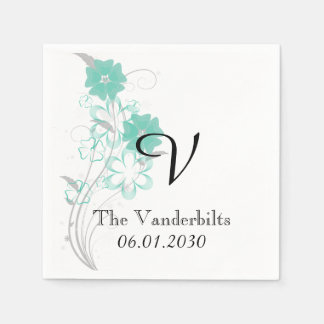 Budding Romance in Aqua Monogram Wedding Napkin