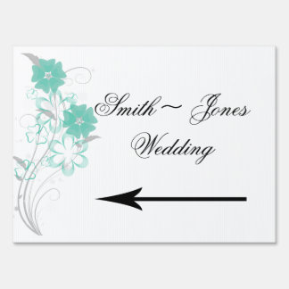 Budding Romance in Aqua Wedding Direction Sign