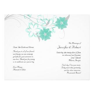 Budding Romance in Aqua Wedding Program Personalized Flyer