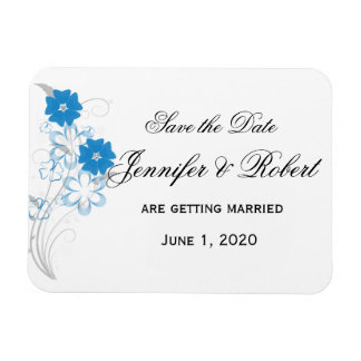 Budding Romance in Blue Save the Date Rectangular Photo Magnet