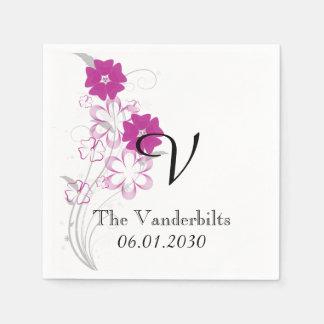 Budding Romance in Fuchsia Monogram Wedding Napkin
