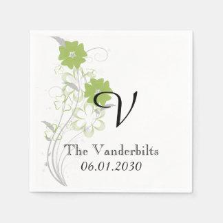 Budding Romance in Green Monogram Wedding Paper Napkin