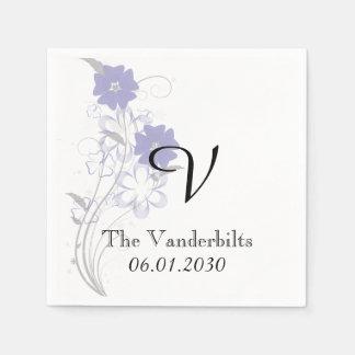 Budding Romance in Lavender Monogram Wedding Paper Napkin