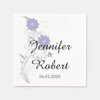 Budding Romance in Lavender Wedding Napkin