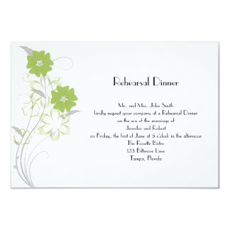Budding Romance in Olive Green Rehearsal Dinner Card