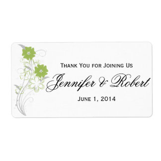 Budding Romance in Olive Green Water Bottle Label Shipping Label