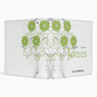Budding Romance in Olive Green Wedding Planner 3 Ring Binder
