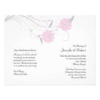 Budding Romance in Pink Wedding Program Custom Flyer