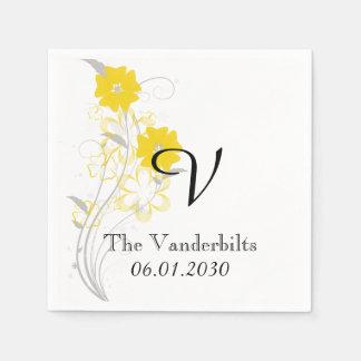 Budding Romance in Yellow Monogram Wedding Napkin
